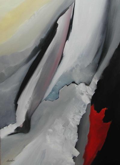 Tableau de peinture abstrait par Régine Chardon, artiste peintre