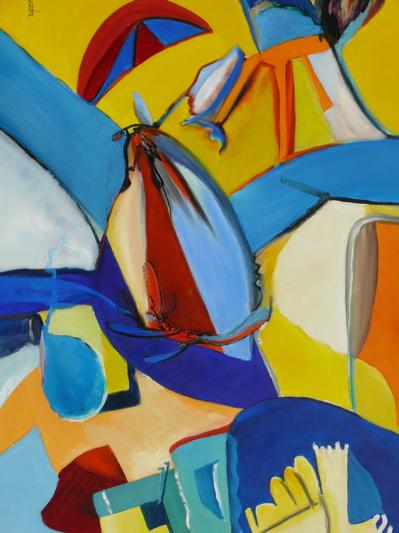 Composition jaune et bleue